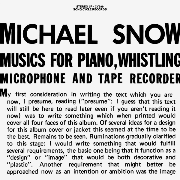 Musics For Piano, Whistling, Microphone And Tape Recorder
