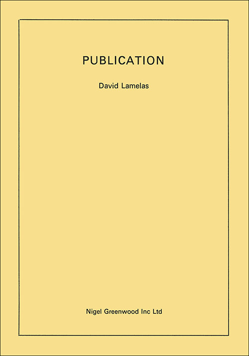 david lamelas - Publication