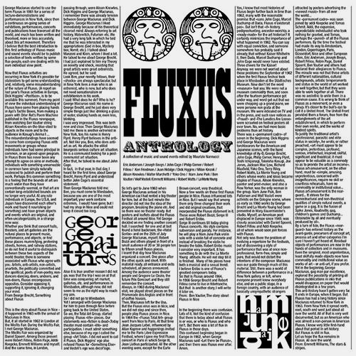 FLUXUS ANTHOLOGY: A COLLECTION OF MUSIC AND SOUND EVENTS