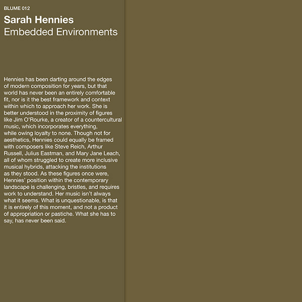 sarah hennies - Embedded Environments (LP)
