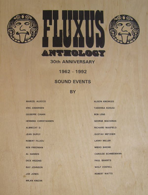 FLUXUS ANTHOLOGY 30TH ANNIVERSARY 1962-1992 SOUND EVENTS
