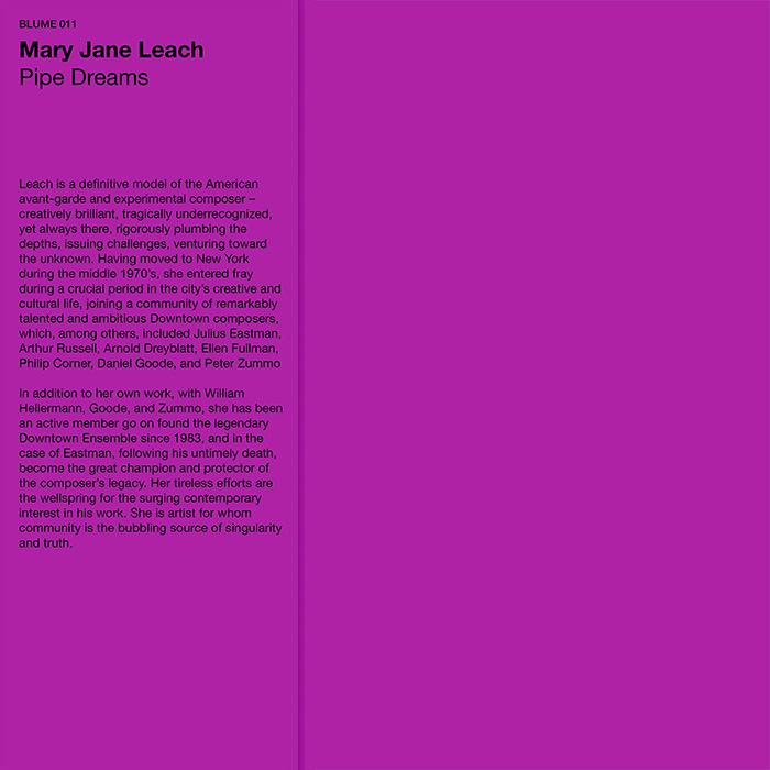 mary jane leach - Pipe Dreams (Clear LP)