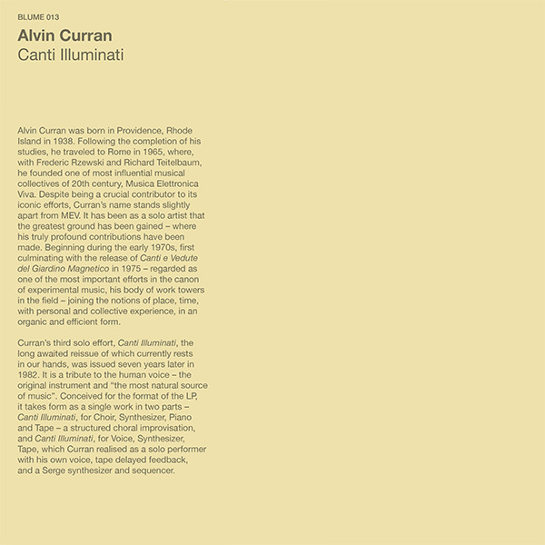 alvin curran - Canti Illuminati (LP)